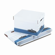 Quick/Stor Lock Lid File Box, Legal/Letter, 12 x 15-1/4 x 10-1/4, White, 4/Ctn