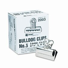 "Bulldog Clips, Steel, 7/8"" Capacity, 2-5/8""w, Nickel-Plated, 12/box"