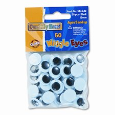 Round Black Wiggle Eyes, 15mm, 50 Pieces per Pack (Set of 3)