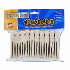 Flat Wood Slotted Clothespins, 3-3/4 Length, 40 Toothpicks per Pack (Set of 2)
