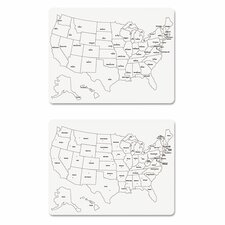 Sided U.S. Map Wall Mounted Whiteboard, 2' x 2'