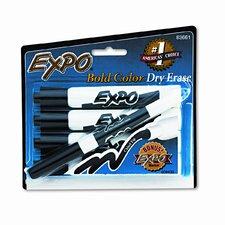 Dry Erase Markers, Chisel Tip, Black, 4/Set