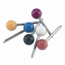 "Plastic Round Head Map Tacks, Steel 3/8"" Point, Assorted Colors, 100 per Box (Set of 3)"
