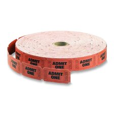 "Single Roll Tickets, ""Admit One"", 1""x2"", 2000 per Roll, Red (Set of 2)"