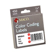 "Color Coded Labels, Perm Adhesive, 1/4"" Diameter, Red (Set of 3)"
