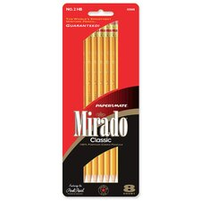 Classic Pencils, No. 2, w/ Rubber Eraser, 8 per Pack, Yellow