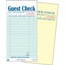 Duplicate Carbonless Guest Check Book