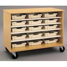"""36"""" H Encore Double Sided Shelf Cabinet with Optional Storage Trays"""