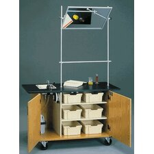 Mobile Science Demonstrator Table with Overhead Mirror and Black HPL Top in Light Oak