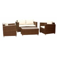 Hampton 4 Piece Deep Seating Group with Beige Cushions