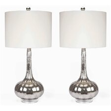 """Michelle Antiqued 28"""" H Table Lamp with Drum Shade (Set of 2)"""