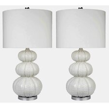 "Morin Stacked Sea Urchin 28.5"" H Table Lamp with Drum Shade (Set of 2)"
