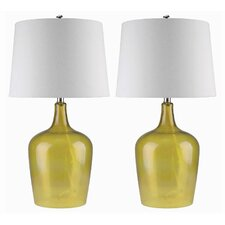 "Delmore Glass 27.5"" H Table Lamp with Empire Shade (Set of 2)"