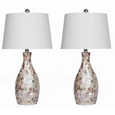 "Mother of Pearl 26"" H Table Lamp with Empire Shade (Set of 2)"