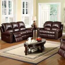 Sedona Reclining Italian Leather Sofa and Loveseat Set in Two Tone Burgundy