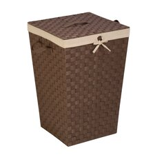 Woven Strap Hamper with Liner and Lid