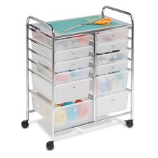 Twelve Drawer Rolling Cart in Chrome
