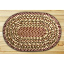 Olive/Burgundy/Gray Braided Area Rug