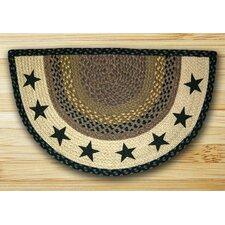 Stars Printed Black Slice Area Rug
