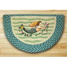 Mermaid Printed Turquoise Slice Area Rug