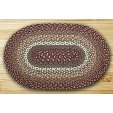 Braided Green/Red Oval Area Rug