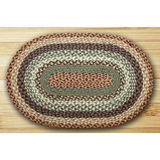 Oval Braided Buttermilk/Cranberry Area Rug