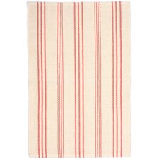 Skona Stripe Woven Cotton Ivory & Pink Area Rug