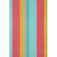 Woven Pink & Blue Tiki Stripe Area Rug