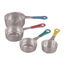 4 Piece Stainless Steel Measuring Cups with Colored Handle Set