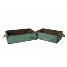 2 Piece Wood Crate Set with Rope Handles