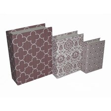 3 Piece Book Box with Mixed Prints