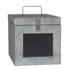 Metal Storage Box with Lock and Chalkboard