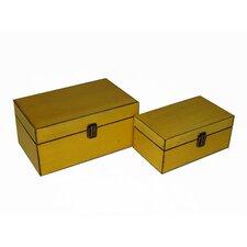 2 Piece Simple Wooden Treasure Box Set