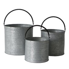 3 Piece Metal Bucket Set with Handles