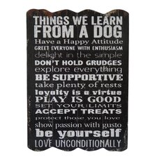 """Wall Sign Inscribed """"Things we learn from a dog"""" Textual Art"""