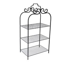 3 Tiered Metal Rack with Wire Mesh Shelves