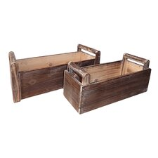 2 Piece Rectangular Planter Box Set