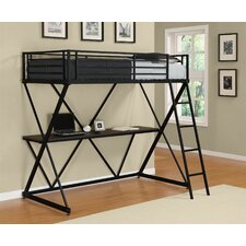 X Shaped Twin Low Loft Bed with Desk