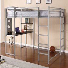 Abode Full Loft Bed with Built-In Ladder, Desk & Bookshelves