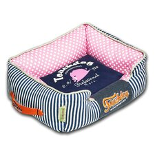 Polka-Striped Polo Easy Wash Rectangular Fashion Dog Bed