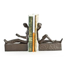 Man and Woman Reading Metal Book Ends (Set of 2)