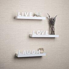 "Decorative 3 Piece ""Live, Love, Laugh"" Wall Shelf Set"