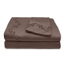 800 Thread Count Egyptian Cotton Sheet Set with Chenille Scroll