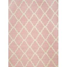 Marrakech Trellis Hand Hooked Baby Pink Area Rug