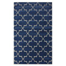 Bella Marrakesh Moroccan Trellis Blue Rain Area Rug