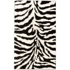 Shaggy Zebra Black/White Area Rug