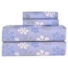 Heavy Weight Snowflake Printed Flannel Sheet Set