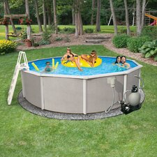 "Round 48"" Deep 6"" Top Rail Belize Metal Wall Swimming Pool Package"