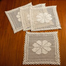 Stars Crochet Vintage Square Doilie Placemat (Set of 4)