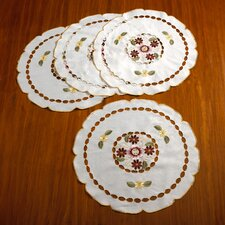 Orchid Embroidered Vintage Round Doilie Placemat (Set of 4)